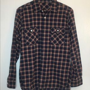 Casual button down flannel long sleeves shirt S